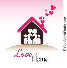 love at home  over pink background vector illustration