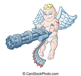 Love attack - The cupid is aiming from a machine gun charged...