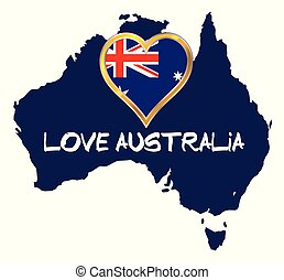 Love Australia Silhouette Map With Flag