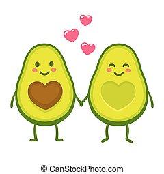 Love avocado couple - Cute cartoon avocado couple holding...