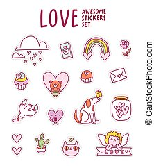 Love awesome sticker set
