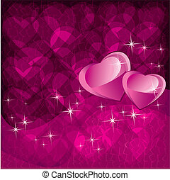 Love background for Valentines day with two hearts
