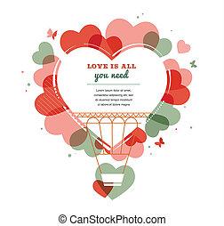 Love background - heart shape hot air balloon