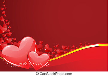 Love Background - illustration of pair of heart on love...