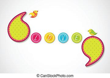 Love Background - vector illustration of birds in love...