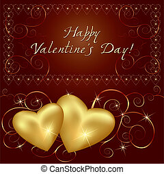 Love background with two golden hearts. Place for text