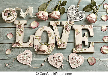 love background with vintage style letters and roses