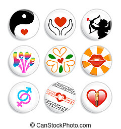 Love badges - Set of badges about love in our life