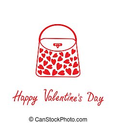 Love bag with hearts. Happy Valentines Day card.
