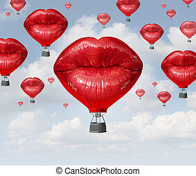 Love Balloons - Love balloons as a hot air balloon made of...