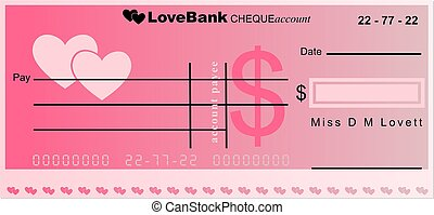 love bank - generic cheque account from the bank of love