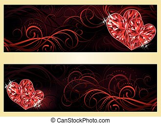 Love banners with two ruby hearts,