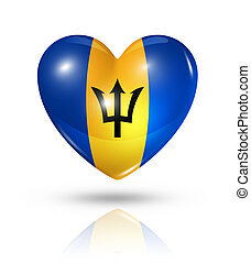Love Barbados, heart flag icon - Love Barbados symbol. 3D...