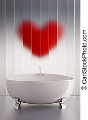 Love bath - 3d render of a ceramic bath tab and a red heart...