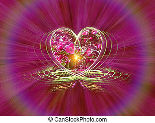 Love - Beautiful hypnotic digital background with glowing...