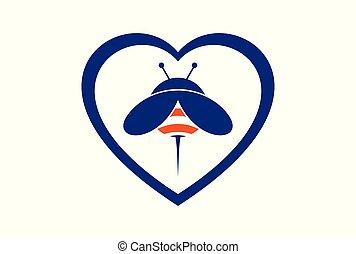 love bee logo concept icon