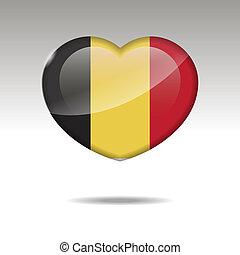Love BELGIUM symbol. Heart flag icon. Vector illustration.