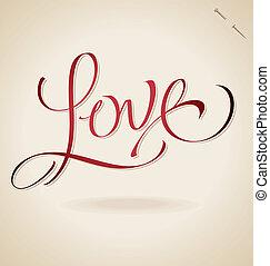 'love', beschriftung, (vector), hand