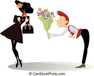 Love between African woman and Caucasian man isolated illustration