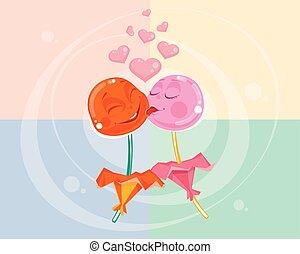 Love between two lollipops
