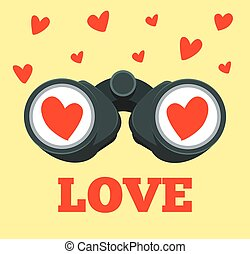 Love binoculars. Vector flat cartoon illustration