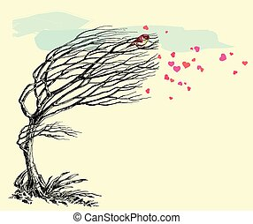 Love bird and tree without leaves in the wind. Valentine's Day card