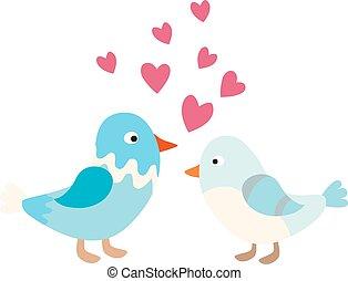 Couple of cute love birds nature sweet comic cartoon vector.