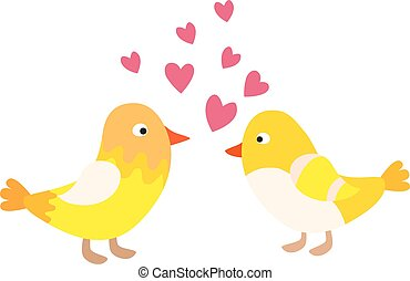 Couple of cute love birds nature sweet comic cartoon.