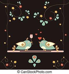 Love Bird Tree. Vector Card for Valentine Day. Vector...