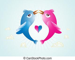 Love birds - Abstract illustration of vector Birds in love...