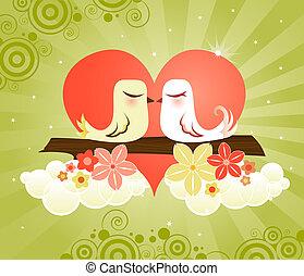 Love Birds at Heart - Loving little birds kissing in a...