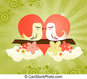 Love Birds at Heart - Loving little birds kissing in a...