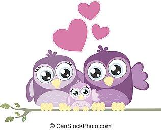 love birds baby family
