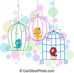 Love Birds - Illustration of Love Birds in Cute Cages