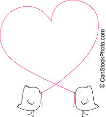 Love Birds - Two cute illustrated birds creating a heart...