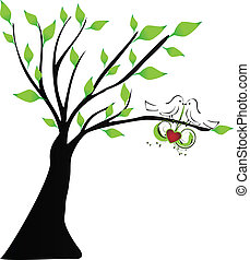 Love birds hanging a heart