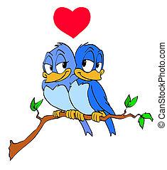 Hand drawn cartoon blue bird couple in love