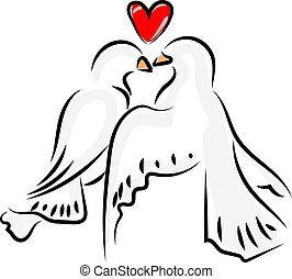 Love birds, illustration, vector on white background.
