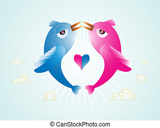 Love birds - Abstract illustration of vector Birds in love...
