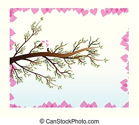 Love Birds in Spring with hearts vector image