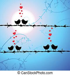 Love, birds kissing on branch