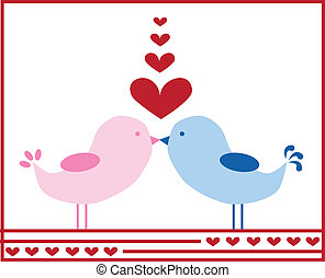 Valentine love heart birds kissing