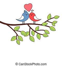 Love birds on a birch illustration