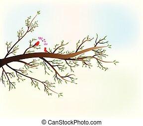 Love Birds on branch tree of love hearts spring vector