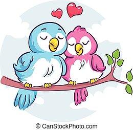 Love Birds on the Branch - Vector Illustration of Love Birds...