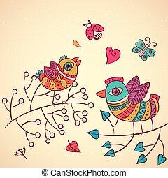 Love birds on the branch, vector illustration