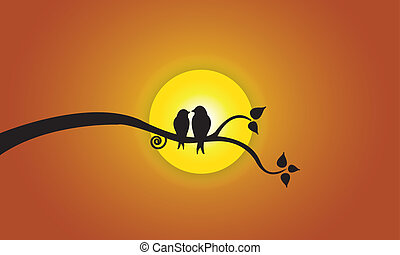 love birds orange evening sky sun - Happy Young love birds...