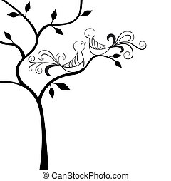 Love birds - Silhouette tree with two love birds