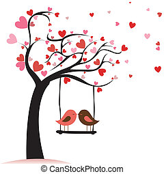 love birds - two birds in love on abstract tree with heart ...