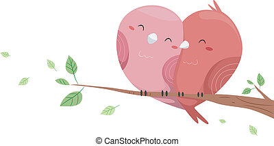 Love Birds - Illustration of Love Birds perched on a branch...